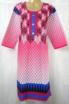 "BRAND NEW Kurti Top Dress BUST 36"" cotton Pure Cotton Kg2 Rani Blue #ABOH9"