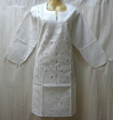 "BRAND NEW Kurti Top Dress BUST 40"" cotton Lukhnowi Kg14 White #ABNHK"
