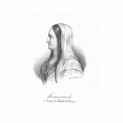 Ermentrude French Queen Wife of Charles the Bald - Antique Print c1850