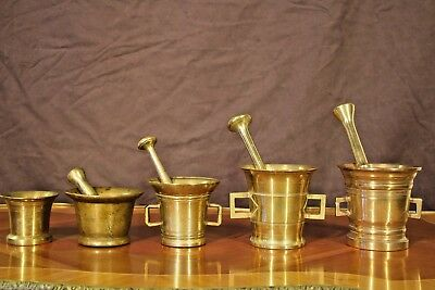 Rare Antique solid bronze collection of ancient PESTLE and MORTARS 1700's heavy