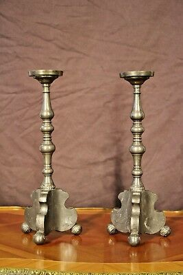 PAIR heavy antique Gothic ALTAR CANDLESTICKS church pewter candelabra lamp bases