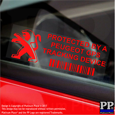 5 x RED- Peugeot GPS Tracking Device Security Stickers-Van,Car Alarm Tracker