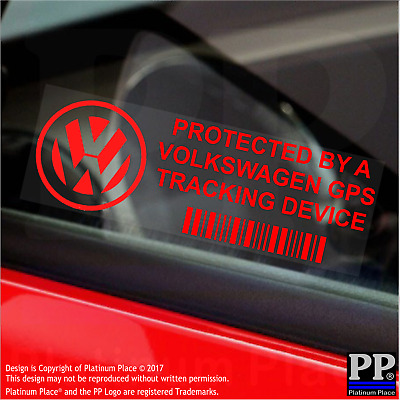 5 x RED- Volkswagen GPS Tracking Device Security Stickers-Polo-Car Alarm Tracker