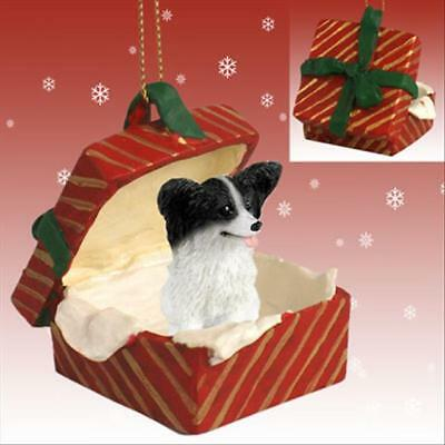 Papillon Black White Dog RED Gift Box Holiday Christmas ORNAMENT