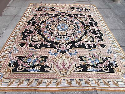 Old Hand Made Traditional Portages Wool Blue Black Needlepoint Carpet 292X230cm