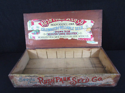 Antique Rush Park Seed Co. Independence Iowa Celebrated Reliable Seed Crate(140)