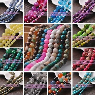 Wholesale 4/6mm Natural Stone Gemstone Round Loose Spacer Beads Jewelry DIY