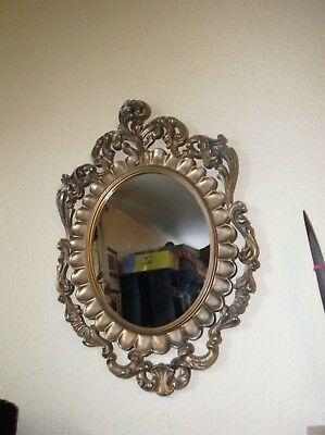 """Small Oval Mirror With Very Ornate Gilt Frame 22"""" X 14.5""""  Shabby Chic Wear"""
