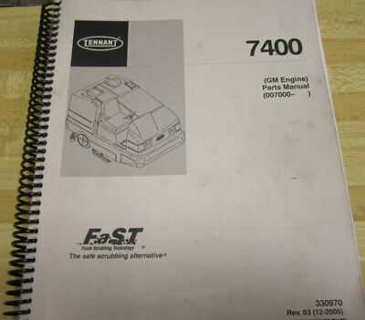 Tennant 7400 GM Engine Parts Manual