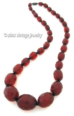 Vintage old ART DECO faceted Cherry Red amber BAKELITE graduated Bead NECKLACE