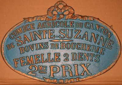 Old French farm show metal plaque plate prize for two-toothed cow Suzanne 1980s