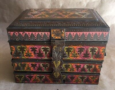 Antique Brass Jewelry Box Enamel Painted Anglo Indian Persian Meenakari Fold Out