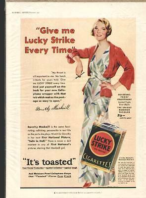 Dorothy Mackail Hollywood Actress 1932 ad for Lucky Strike Cigarettes