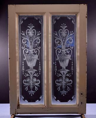 Antique French Etched Glass Window