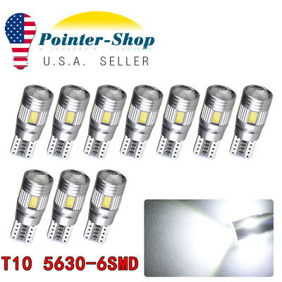 10x Super Brigjt White T10 5630 6SMD LED CANBUS ERROR FREE Interior Lights Bulbs
