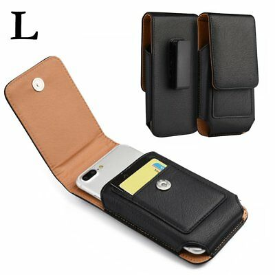 for SAMSUNG GALAXY J7 - Vertical BLACK Leather Pouch Holster Case w/ Belt Clip