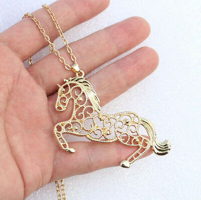 Horse & Western Jewellery Jewelry Ladies  Filigree Horse Pendant Necklace Gold