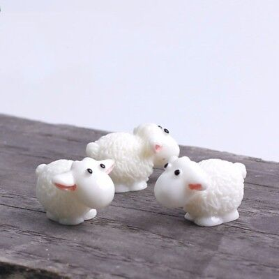 5pcs/lot Miniature Garden Animals Statue Sheep Ornaments Figures Resin Craft