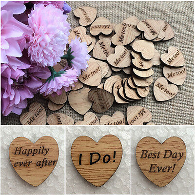 50Pcs/Set Wooden Heart Craft Embellishments Decor Wedding Confetti Table Scatter