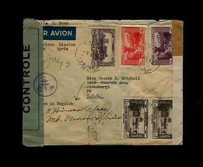 1942 TWICE Censored FREE FRENCH cover American Mission Syria to Mt.Vernon, IL US