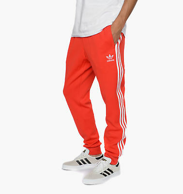 adidas Originals Men's Superstar Cuffed Classic 3-Stripe Joggers Track Pants Red