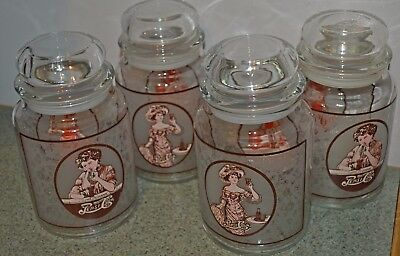 4  collector Pepsi Cola canister jars & lids   Victorian lady & Gibson girl