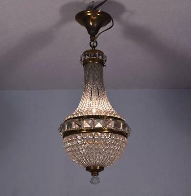 *Vintage Waterfall Bronze & Cut Glass Hanging Lamp/Chandelier