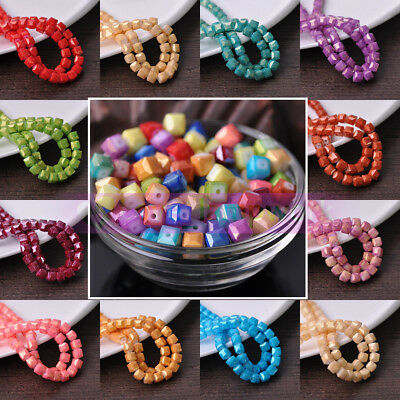 Bulk Wholesale Glitter Cube Faceted Crystal Glass Loose Spacer Beads DIY 4/6/8mm