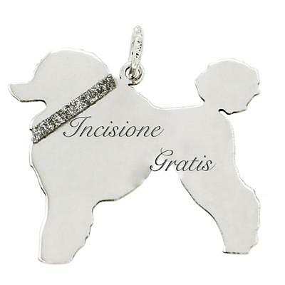 Ciondolo cane barbone mm 25x27 in argento 925 rodiato -incisione gratis-