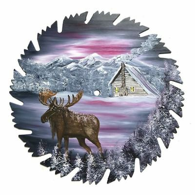 Hand Painted Saw Blade Art Mauve Winter MOOSE 9 inch Reproduced Saw Blade