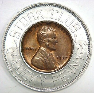 1937 Encased Cent - Stork Club Lucky Penny, Pennies from Heaven