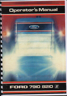 Ford 7910/8210 Tractor Operator Instruction Manual Book
