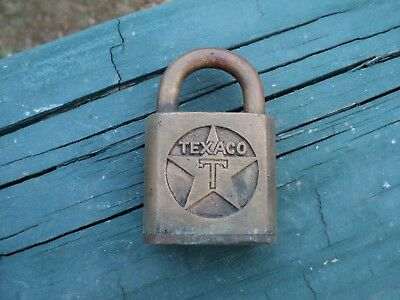 1940s 50s Era Solid Brass Texaco Gas Pump Lock Sargent Advertising No Key