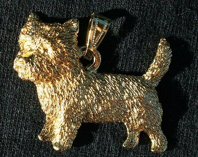 CAIRN TERRIER Dog 24K Gold Plated Pewter Pendant Jewelry USA Made