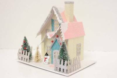 Vintage Style Putz House Lights Up Shabby Cottage Chic Christmas Decorations