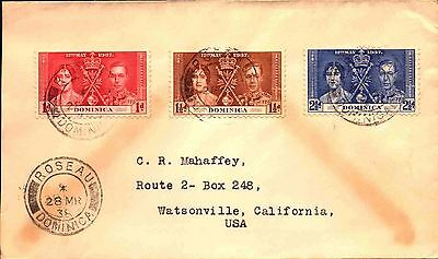 1938 Dominica Cover - Coronation Issue -  slit open at left stk#409