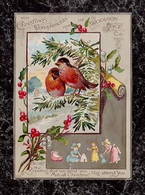 Birds on Pine Branch Lion Coffee Large Christmas Trade Card Woolson Spice Poor