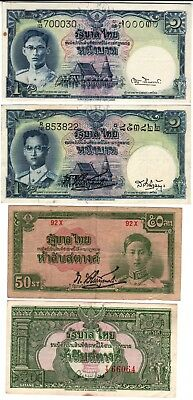 15 old Thailand notes, including scarce 20 baht 1936 P29 Fine to UNC