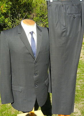 Vintage 1960s Super-Smooth Sharkskin Suit 40S 31x29 - 3 Button Gabardine Unit
