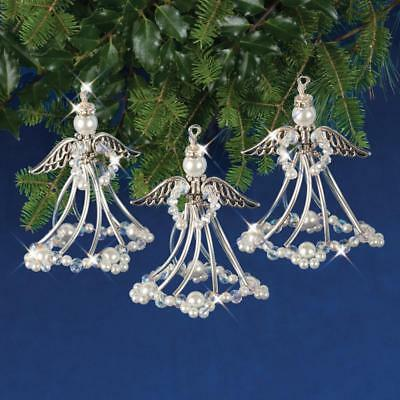 Silver Angels Holiday Beaded Christmas Ornament Kit  makes 3