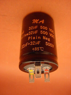 32 uF + 32 uF / 500 VOLT CAN DUAL ELECTROLYTIC CAPACITOR * 85 Deg. C * NEW *