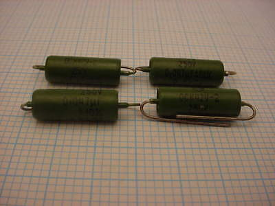 4 x 0.047 uF / 250 VOLT PIO RUSSIAN MILITARY AXIAL CAPACITOR * NOS * HERMETIC *