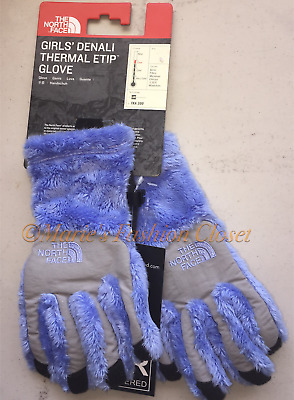 NWT S, M, L Youth Girls North Face Denali Thermal Plush Fleece Etip Gloves Blue
