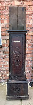 Early Carved Oak Grandfather Clock Trunk Only