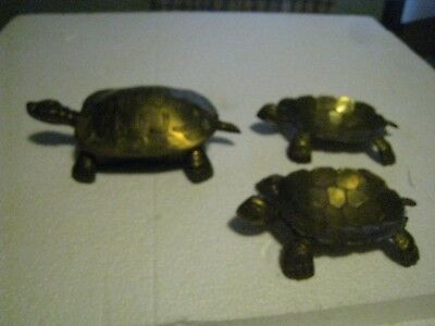 "Solid brass figural vanity TURTLES trinket dish & coin trays vintage 6"" estate"