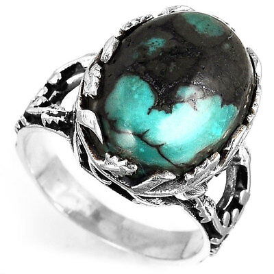 925 Sterling Silver Nature Ring Big Turquoise Stone Flower Leaf Boho Size 7 8 9