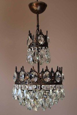 Antique Pendant French Crystal CHANDELIER Art Nouveau brass lamp Light Fitting