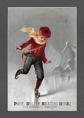 Ice Skating On Old Fashioned Skates-Victorian Trade Card for Roller Skating Rink