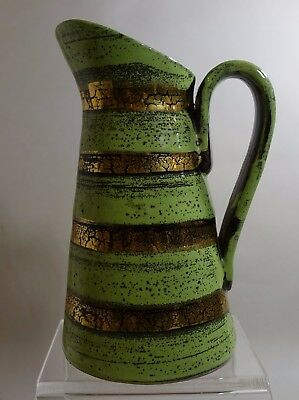 "YMX503 ITALY ART POTTERY GREEN and GOLD PITCHER EWER 6"" HIGH"