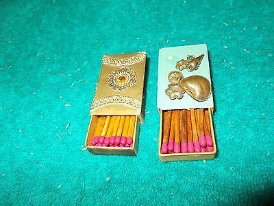 2 Vintage DECORATED MATCHES MATCHBOX Unstruck Collectible Match Box